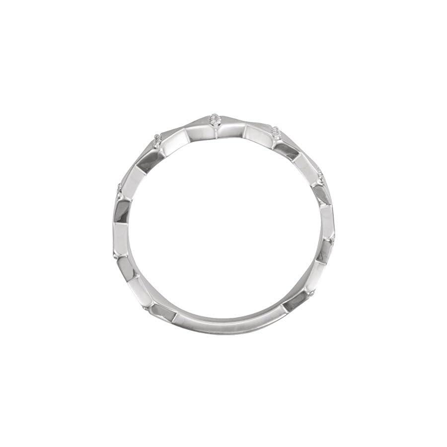 0.72 ct Ladies Round Cut Diamond Geometric Wedding Band Ring in 18 kt White Gold