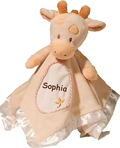 Personalized Spotted Giraffe Lil Snuggler Baby Snuggle Blanket Gift for Baby Girl or Baby Boy - 13 Inches