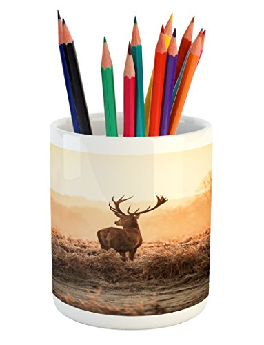 Ambesonne Hunting Pencil Pen Holder, Red Deer in The Morning Sun Wilderness Nature Scenery Countryside Rural Heathers, Printed Ceramic Pencil Pen Holder for Desk Office Accessory, Brown Orange