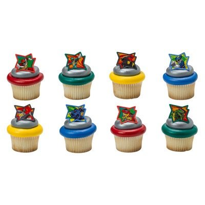 Power Rangers Dino Charge Cupcake Rings - 24 (Power Rangers Birthday Cake)