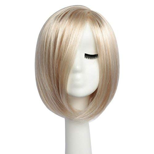 BESTUNG Girls Sexy Side Part Bob Wig Stylish Short Straight Ombre Blonde Synthetic Wigs Harajuku Style Hair for Women Costume Party with Free Wig Cap