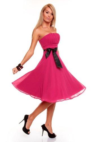 Bandeau XS Kleid bis Pink Cocktailkleid Festkleid Abendkleid Chiffon Knielanges XXL Ballkleid d6qwxOd0