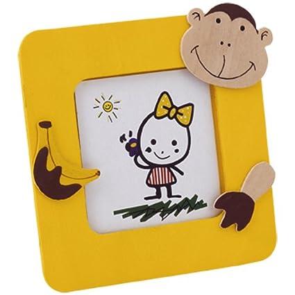 Lote de 30 Portafotos JUNGLA Amarillo en madera natural con divertidos diseños de animales. Para
