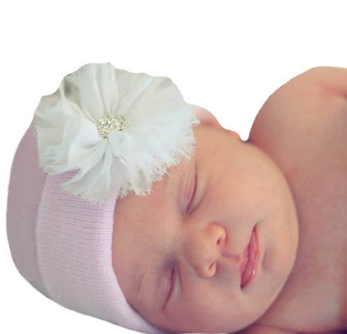 Melondipity's Newborn Girl Pink Beanie with White Frayed Flower Nursery Hospital Hat