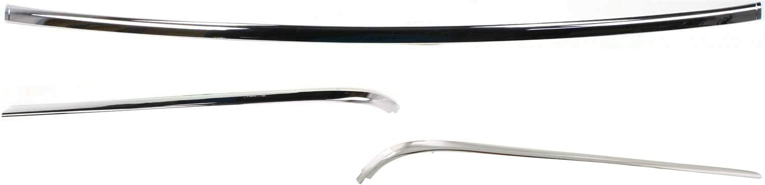 Rear Bumper Molding Compatible with 1998-2002 Lincoln Town Car Center Set of 3 Plastic Chrome Passenger and Driver Side