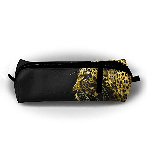 - Kui Ju Pencil Bag Pen Case Cheetah Black Background Cosmetic Pouch Students Stationery Bag Zipper Organizer
