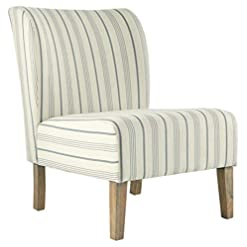 Farmhouse Accent Chairs Signature Design by Ashley Triptis Casual Armless Accent Chair, Cream with Blue Pinstripe farmhouse accent chairs