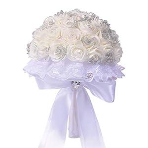 Shisay Wedding Bridal Bouquet - Elegant White Artificial Fake Rose Silk Flowers Lace Ribbon Arrangement for Home Decor Party Floral Centerpieces Decoration Baby Shower Garden Craft Art Decor (Bow) 36