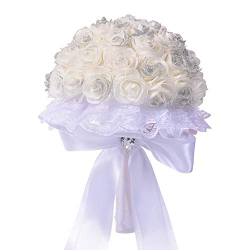 Shisay Wedding Bridal Bouquet - Elegant White Artificial Fake Rose Silk Flowers Lace Ribbon Arrangement for Home Decor Party Floral Centerpieces Decoration Baby Shower Garden Craft Art Decor (Bow)