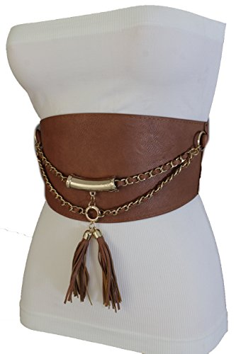Fringe Hip Belt (TFJ Women Elastic Fashion Corset Belt Hip High Waist Gold Metal Chains S M)