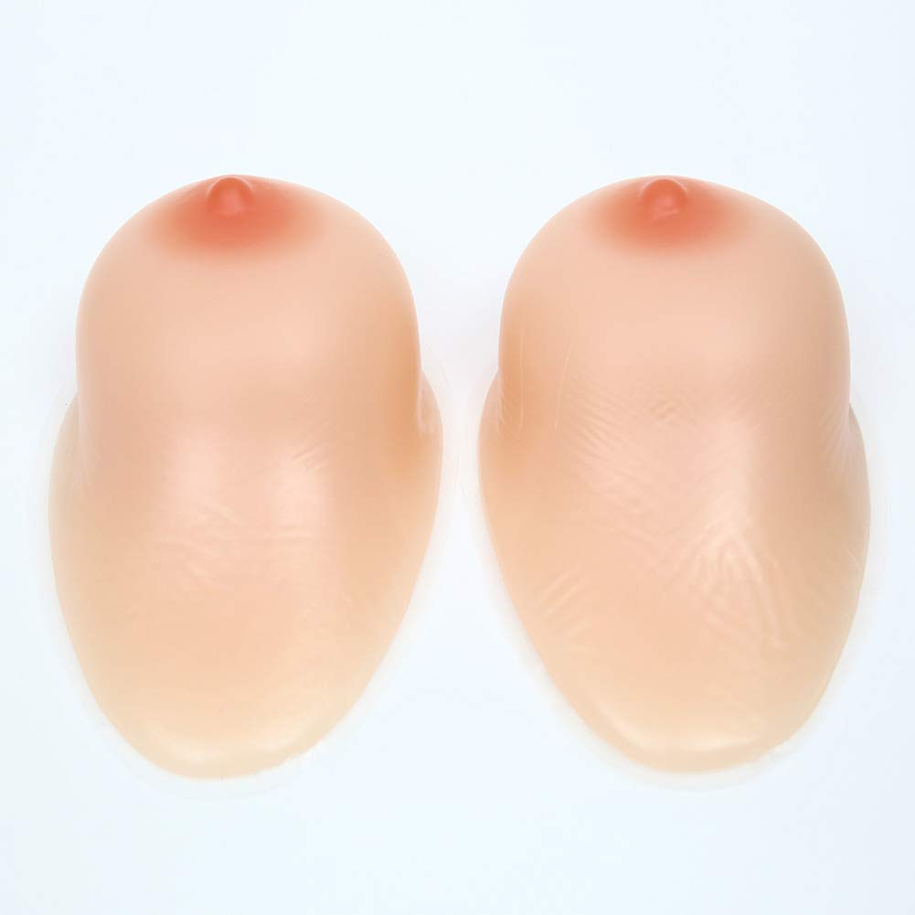 1 Pair Crossdresser Transgender Self-Adhesive Silicone Breast Forms Fake Boobs Waterdrop Shaped Bra Inserts,1,800g/CupC/7.5 * 4.7 * 2.2in by Love Life (Image #2)