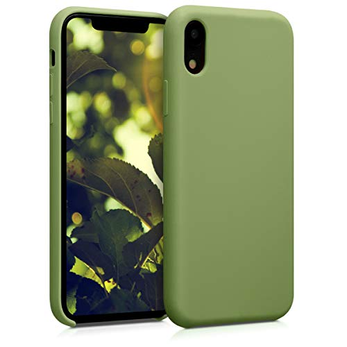 kwmobile TPU Silicone Case Compatible with Apple iPhone XR - Soft Flexible Rubber Protective Cover - Pale Olive Green