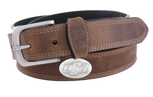NCAA Oklahoma State Cowboys Light Crazyhorse Leather Concho Belt, Light Brown, 36-Inch (Oklahoma State Brown Leather)