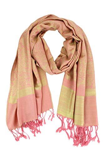 Paskmlna Paisley Jacquard Pashmina Shawl Wrap Scarf Stole (Pink-green01812)