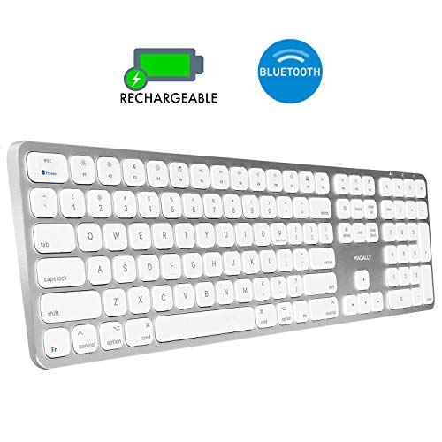 Macally Bluetooth Wireless Keyboard for Mac Mini - iMac Pro iMac - MacBook Pro Air - Apple Computer Laptops - iPad - iPhone - Slim Full-Size Metal Frame & Extended Numeric Keypad (US English) - Silver
