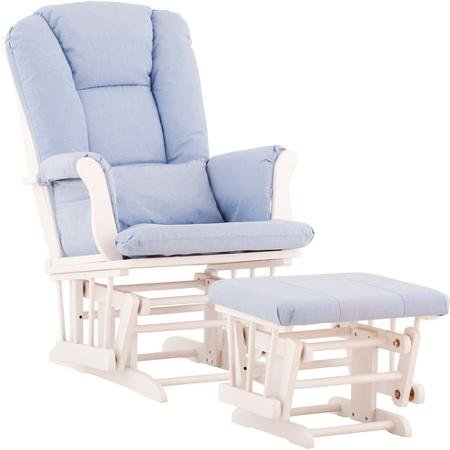 Stylish and Functional Storkcraft - Custom Tuscany Glider & Ottoman with Bonus Lower Lumbar Pillow, Solid Construction and Microfiber Cushions - White Finish in Light Blue Color