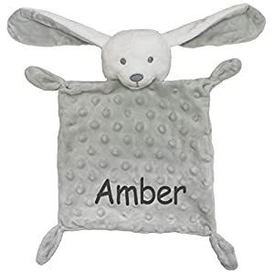 Personalised Baby Bunny Rabbit Comforter Toy (Grey) (Charcoal Embroidery)