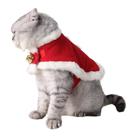ZTON Pet Christmas Costume Red Velvet Robe for Puppy Kitten Small Cats Dogs Dressing Up Holiday Supplies (S, Red) from ZTON