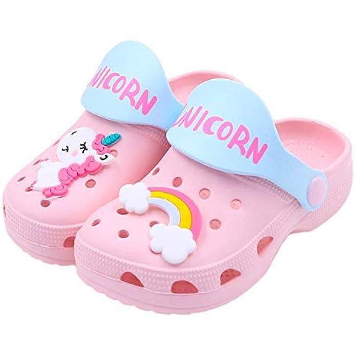 Toddlers Garden Clogs Slipper Kid's Cartoon Unicorn Sandals Clogs Shoes Slides Anti-Slip Lightweight Children Summer Sandals Beach Slipper