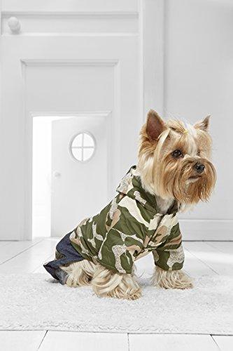 [Toy Dog Camo Jumpsuit For Yorkie Pom Chihuahua Papillon Maltese Shih Tsu Lhasa Apso (Medium Toy Size, dark green, beige, blue,] (Mini Dachshund Halloween Costumes)