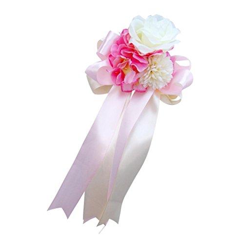 (Wedding Car Decorations Kit Silk Flower Ribbon Mirror Door Handle Party Decor - Pink 2, 30 x 15 x 8cm)