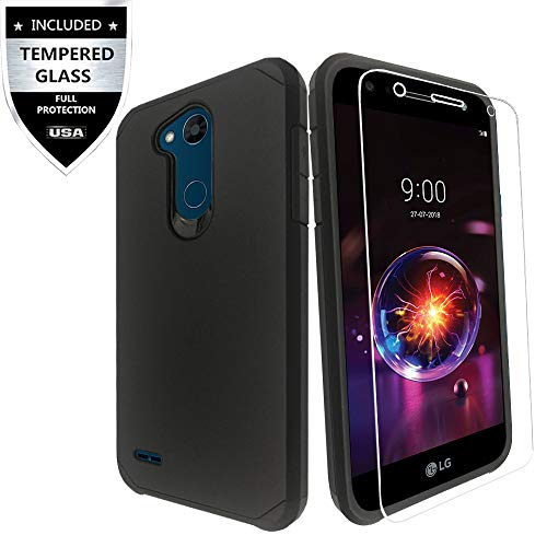 LG X Power 3 / LG X Power 2 / LG Fiesta Case, LG Fiesta 2 Case, LG X Charge Case with Tempered Glass Screen Protector,IDEA LINE(TM) Heavy Duty Protection Hybrid Hard Shockproof Slim Fit Cover - Black