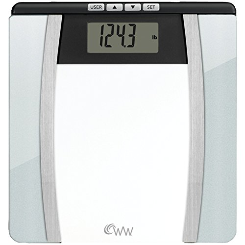 WW Scales by Conair Body Analysis Glass Bathroom Scale - Measures Body Fat, Body Water, BMI, Bone Mass, 4 User Memory, 400 lb. capacity, Black / Chrome