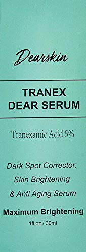 Tranexamic Acid Serum 5% Kojic Acid 5% Vitamin C Hyaluronic Acid and Glycolic Acid. Dark Spot Remover Melasma Treatment for Face and Neck Cruelty Free Facial Serum Anti Aging Vegan (Single)