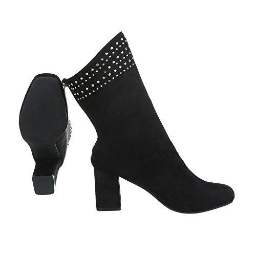 Chaussures femme Bottes et bottines Kitten-Heel Bottines High Heels Ital-Design Noir cLDVNBSBTe