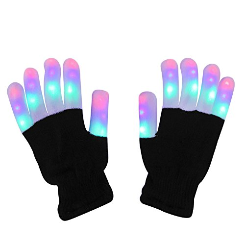 DX DA XIN LED Light up Gloves Finger Light Gloves for Kids Adults Glow Rave EDM Gloves Funny Novelty Gifts]()