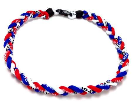 Package of 10 Red White Royal Blue Tornado Necklaces