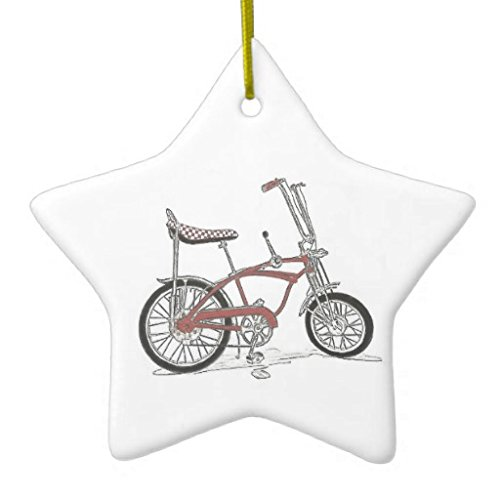 Christmas Ornaments Holiday Tree Ornament Vintage 60s Stingray Muscle Bike Bicycle Both Sides Star Ceramic Ornament Crafts Christmas Gifts (Bicycle Ornament Holiday)