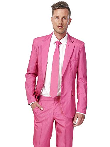 Suitmeister Solid Colored Suits - Pink - Includes Jacket, Pants & Tie, Solid Pink, -