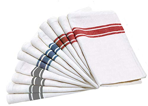 LoomFlair Pure Cotton Kitchen Towels - 12 Pack Dish Cloth (26 x 16 inches) Machine Washable Kitchen Dishcloths, White Kitchen Towels with Red, Blue and Gray Tea Towels