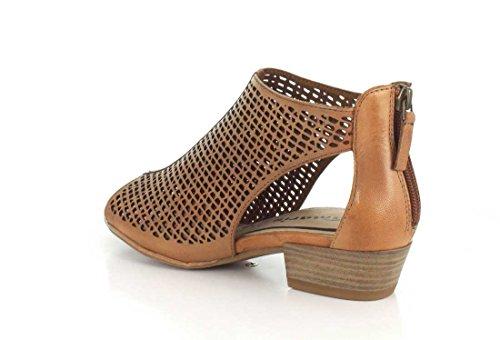 Tamaris - Sandalias de vestir de Piel para mujer coñac