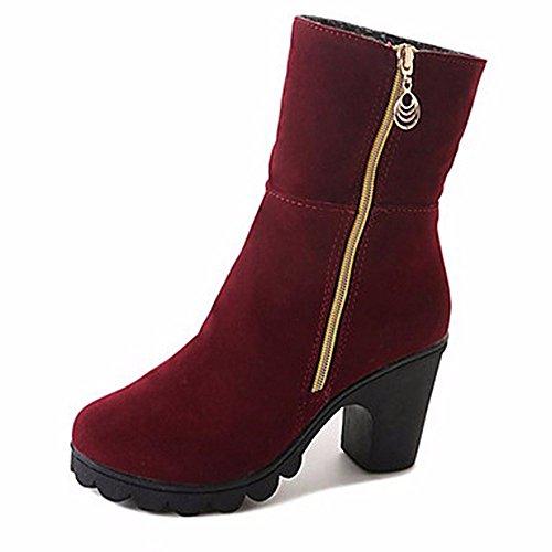 Zhudj Hiver Chaussures En Bout De Bordeaux Air Femmes Caoutchouc Noir Neige Plein Bordeaux Bottes Bottes Rond rTAwqHr