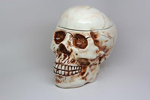 8 Inch Skeleton Skull Shaped Ceramic Cookie Jar Statue Figurine