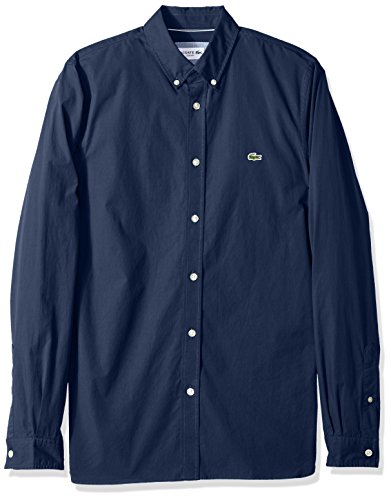 Lacoste Sweater Dress - Lacoste Men's Long Sleeve Solid Poplin Stretch Collar Slim Woven Shirt, CH5816, Navy Blue, X-Large/XX-Large