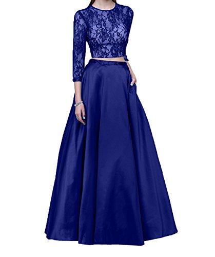 Charmant Neu Lang 2018 Royal Blau Promkleider Langarm Damen Linie Spitze A Abendkleider Brautmutterkleider Festlichkleider qrw6rCESn