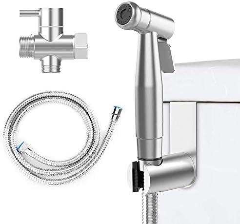トイレ掃除用ハンドヘルドビデ噴霧器キット、ステンレス鋼製のシャワーヘッドとホースビデホルダーバルブ