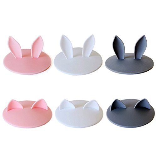 - Super Cute Silicone Cup Lids Mug Cover, Soft Rabbit Cat Ear Drink Cup Bowl Cap, Kids Gift Home Decor, Set of 6 (Pink+White+Grey)
