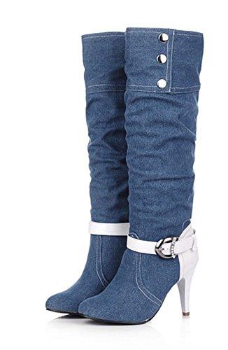 YE Damen High Heels Stiletto Plateau Denim Kniehohe Stiefel mit Schnalle Glitzer Strass 9cm Absatz Fashion Elegant Herbst Winter Schuhe