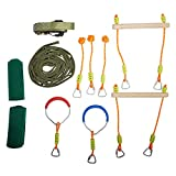 TopEva Ninja Slackline Monkey Bar Kit Outdoor Tree Hanging Obstacles Line Accessories Play Set Kids