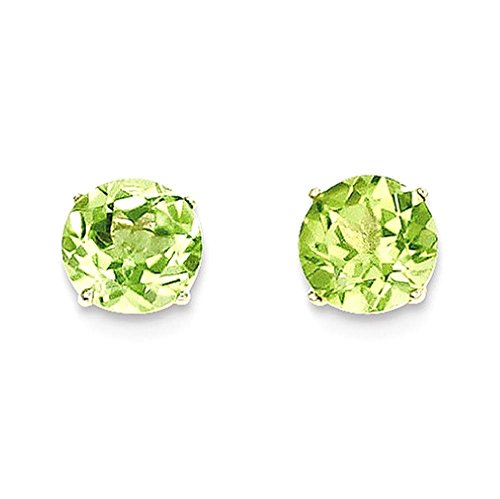 ICE CARATS 14k Yellow Gold Round Green Peridot 6mm Post Stud Earrings Fine Jewelry Gift Set For Women Heart by ICE CARATS