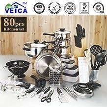 Panelas De Ceramica Arrival Fda Top Fashion Real Cookware Cooking Pots And Pans Set 80 Piece Kitchen Starter Combo Utensil
