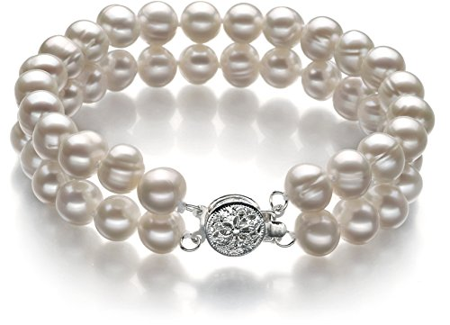 Eda White 6-7mm Double Strand A Quality Freshwater Cultured Pearl Bracelet-8 in length