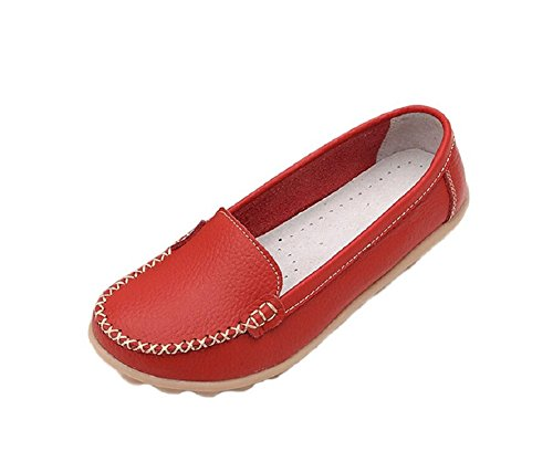 Lazutom mujeres Casual cómodo piel sintética trabajo Flat Loafer Slip-On Shoes Red
