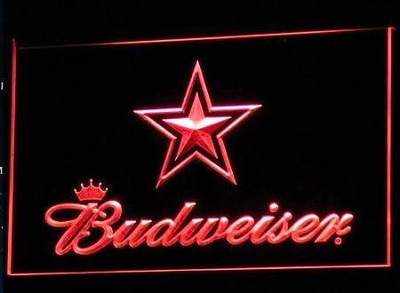 Budweiser - Cartel de neón con luz led en forma de estrella ...