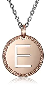 "Rebecca ""Word"" Rose Gold Over Bronze Letter ""E"" Necklace"