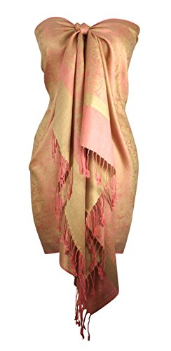 Peach Couture Elegant Vintage Two Color Jacquard Paisley Pashmina Shawl Wrap Baby Green and Pink ()